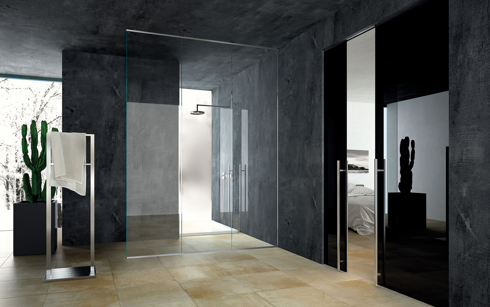 Double Disappearing Sliding Doors, Black Lacquered Glass, Set Up For Metal  Frame Without Jamb; Fixed Glass To Create The Shower Space