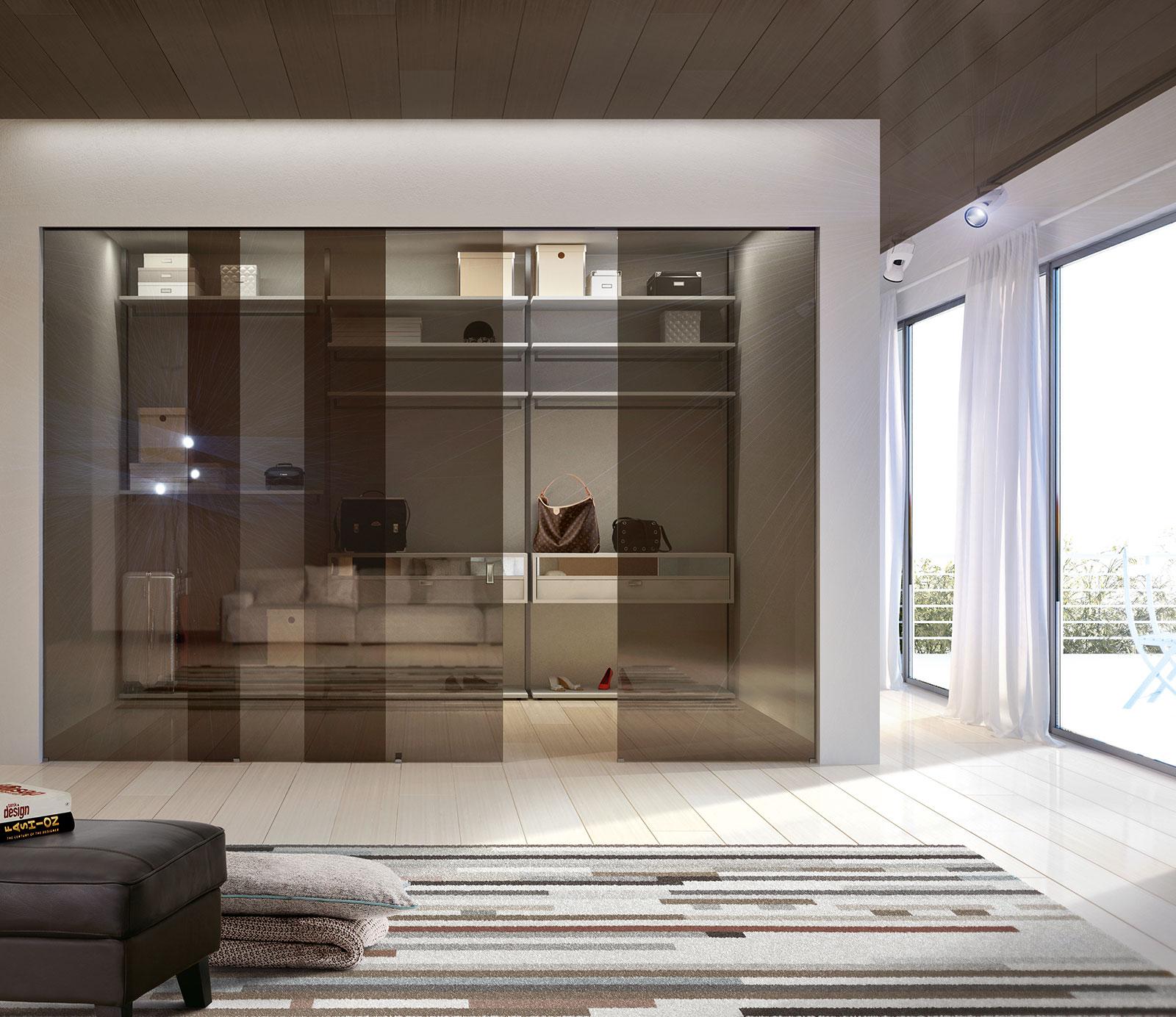 Bronze Reflective Clear Glass Sliding Doors, Built In Sliding System