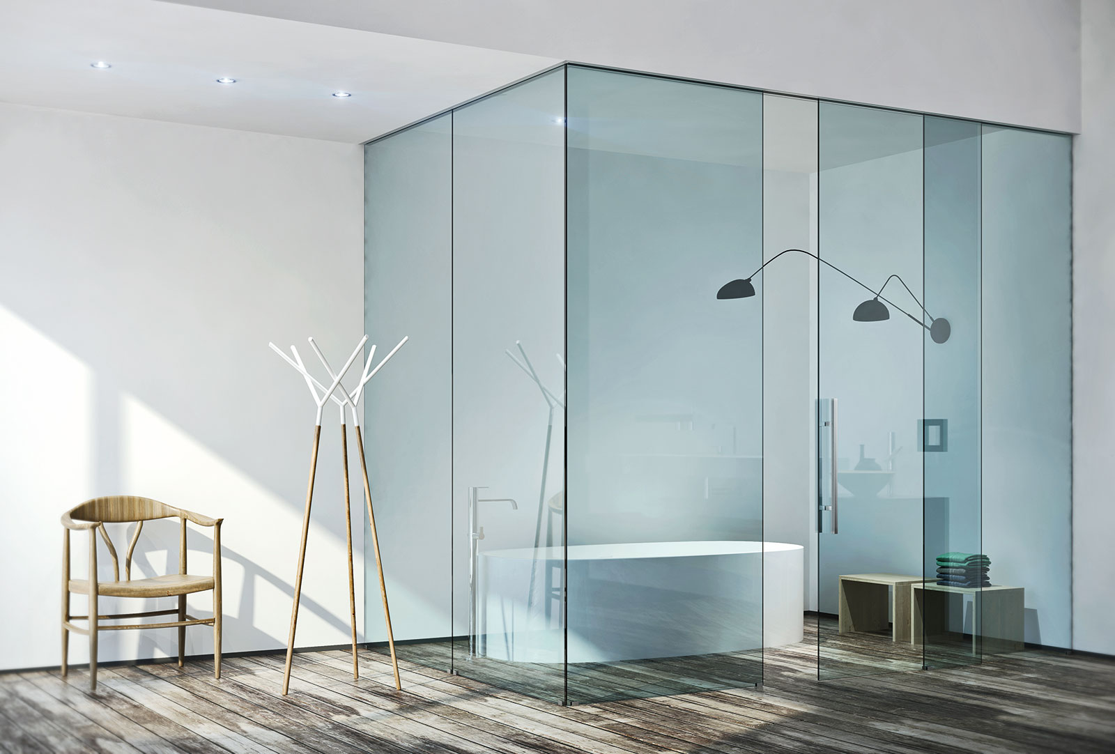 Water Clear Glass, Sliding And Fixed Doors, Built In Sliding System