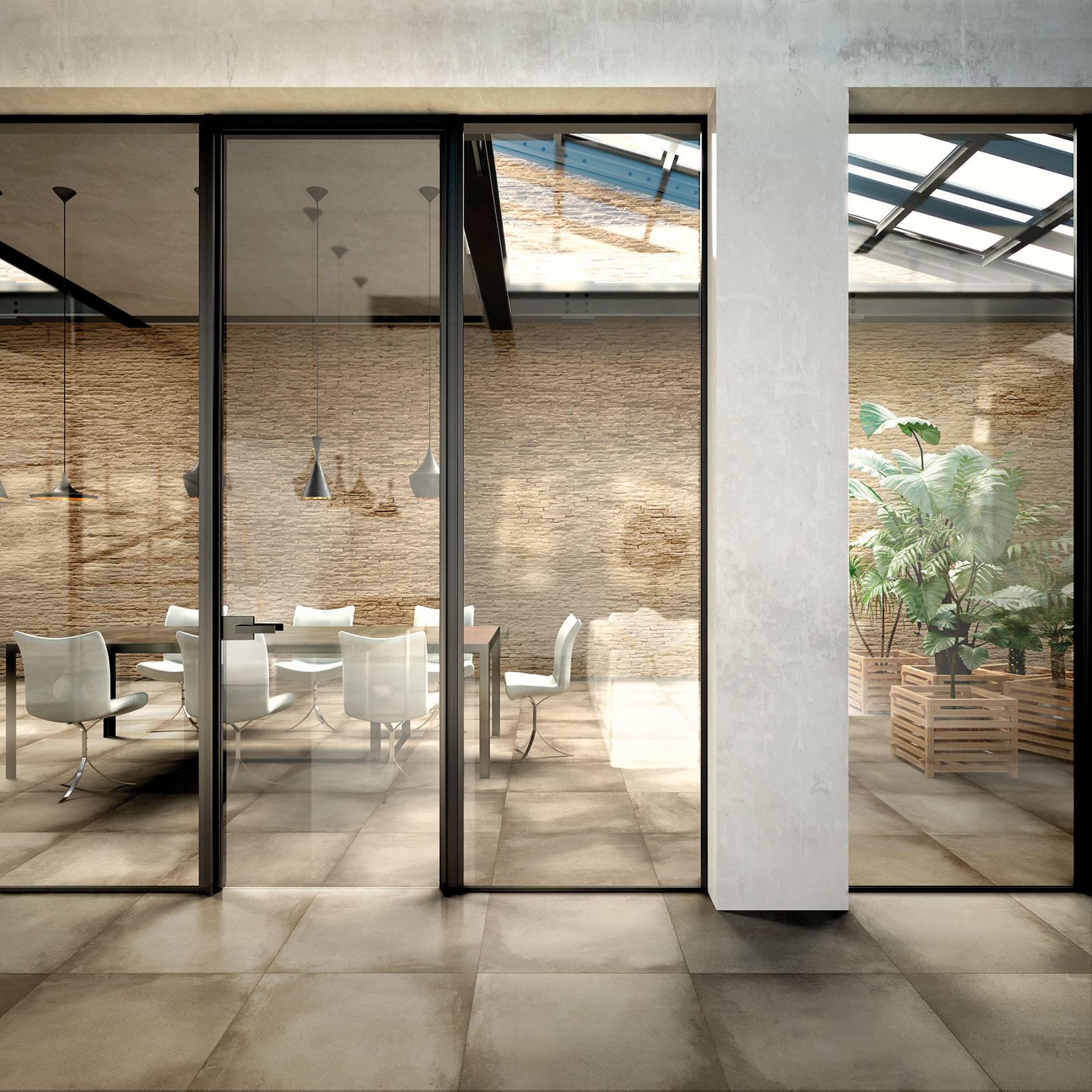 Water Clear Glass, Inside Sliding System Combined With Fixed Glass Walls