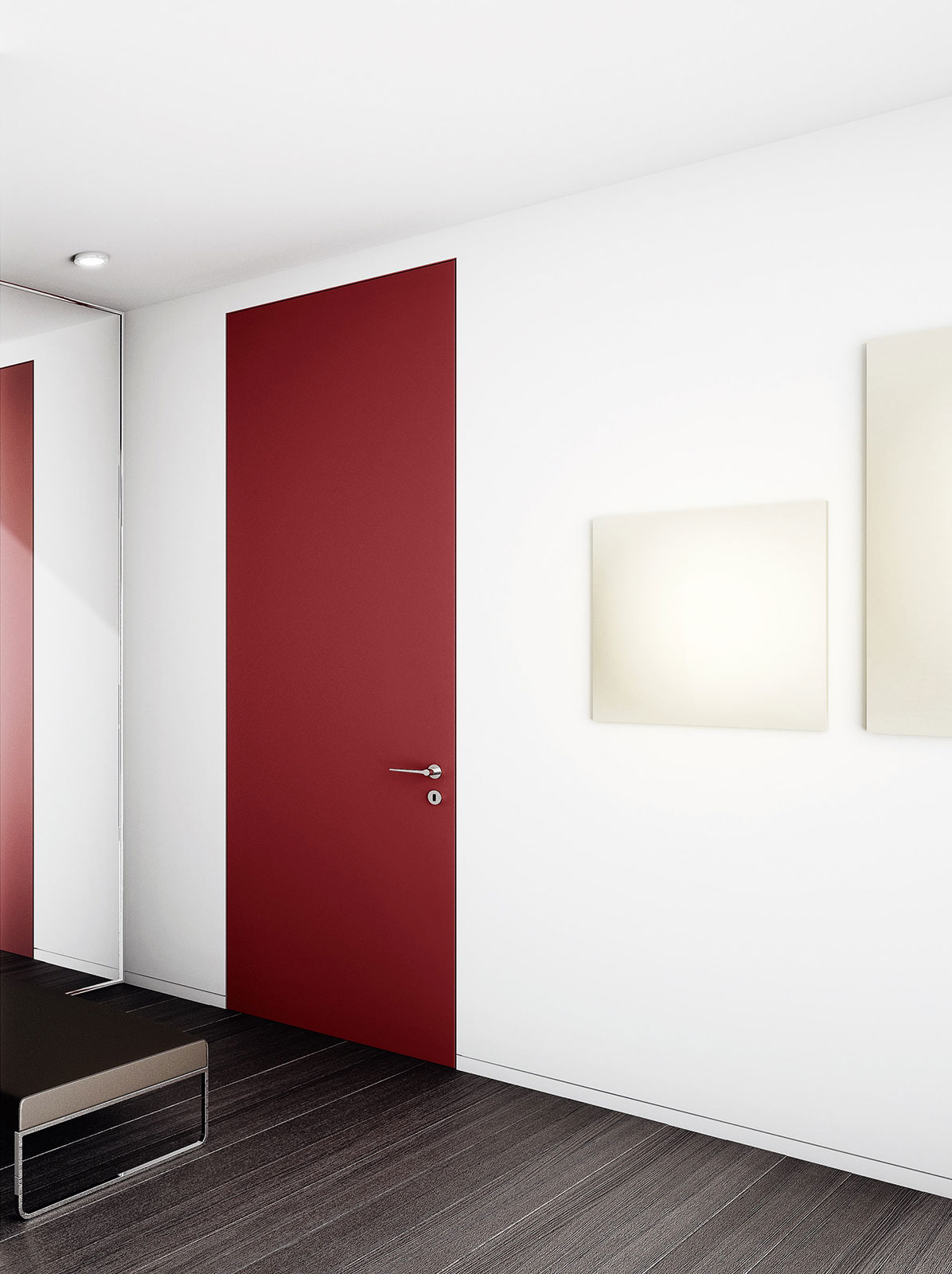 Red lacquered door Plain flush-to-wall frame & FLUSH SWING DOOR - Doors u0026 Systems | Henry glass