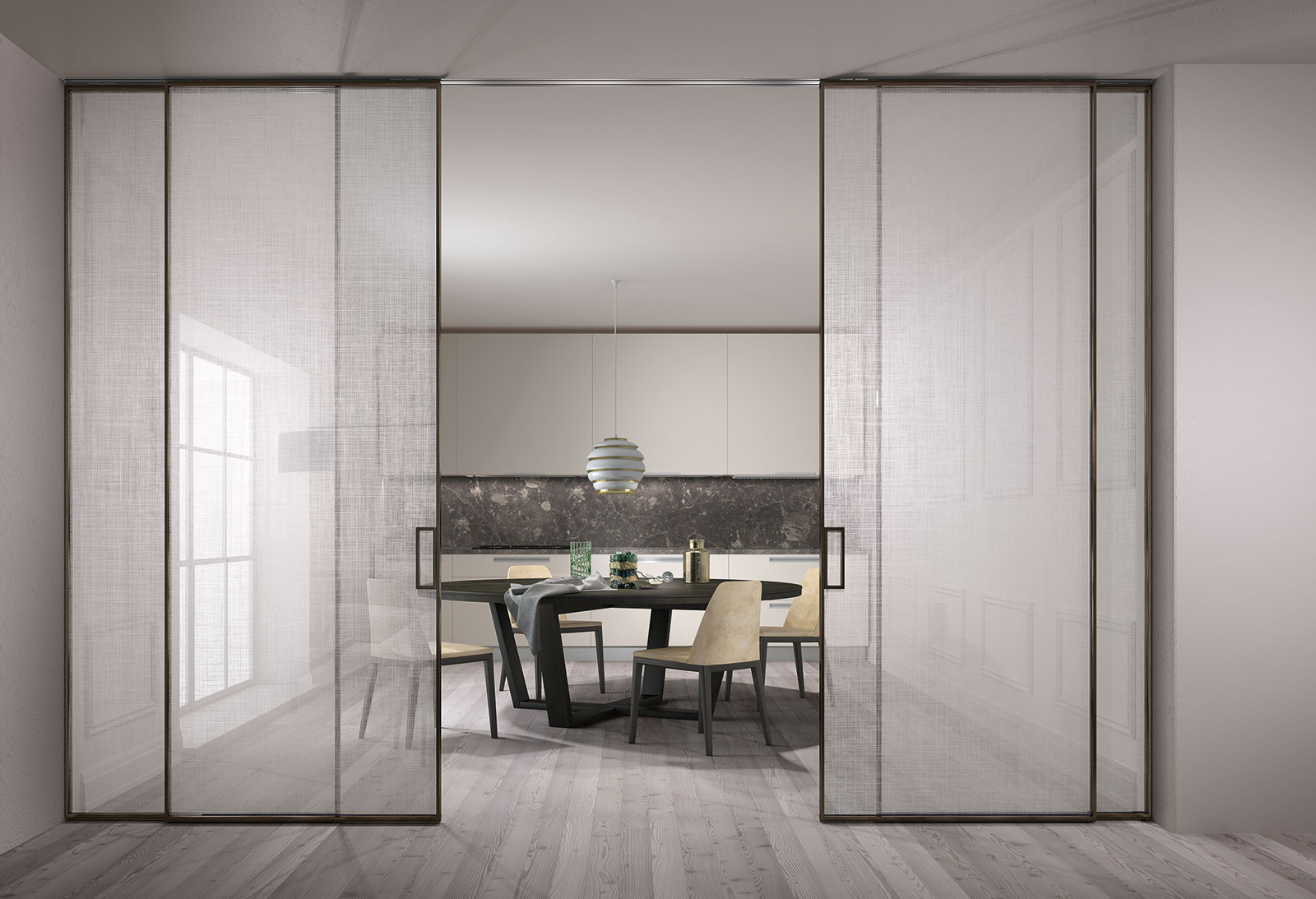 Extralight clear glass Trame decorations anodized mocha profiles built-in sliding system & MANHATTAN - Doors u0026 Systems | Henry glass