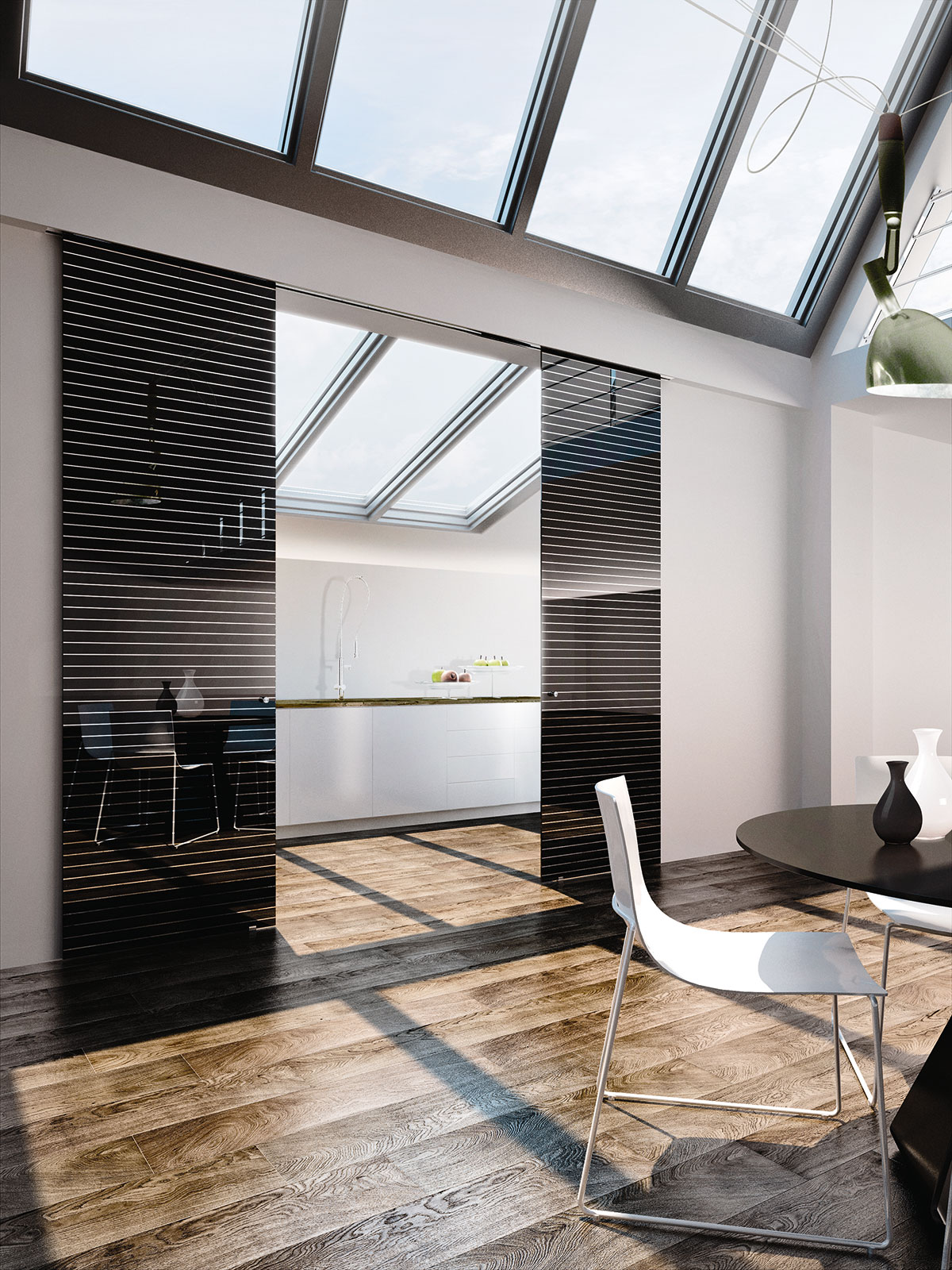 Black Lacquered Glass, Domino 1 Decoration, Inside Sliding System